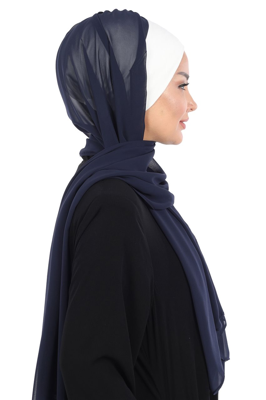 Ayşe Tasarim Shawl-Cream-Navy Blue BS-0002-8-23 - 11
