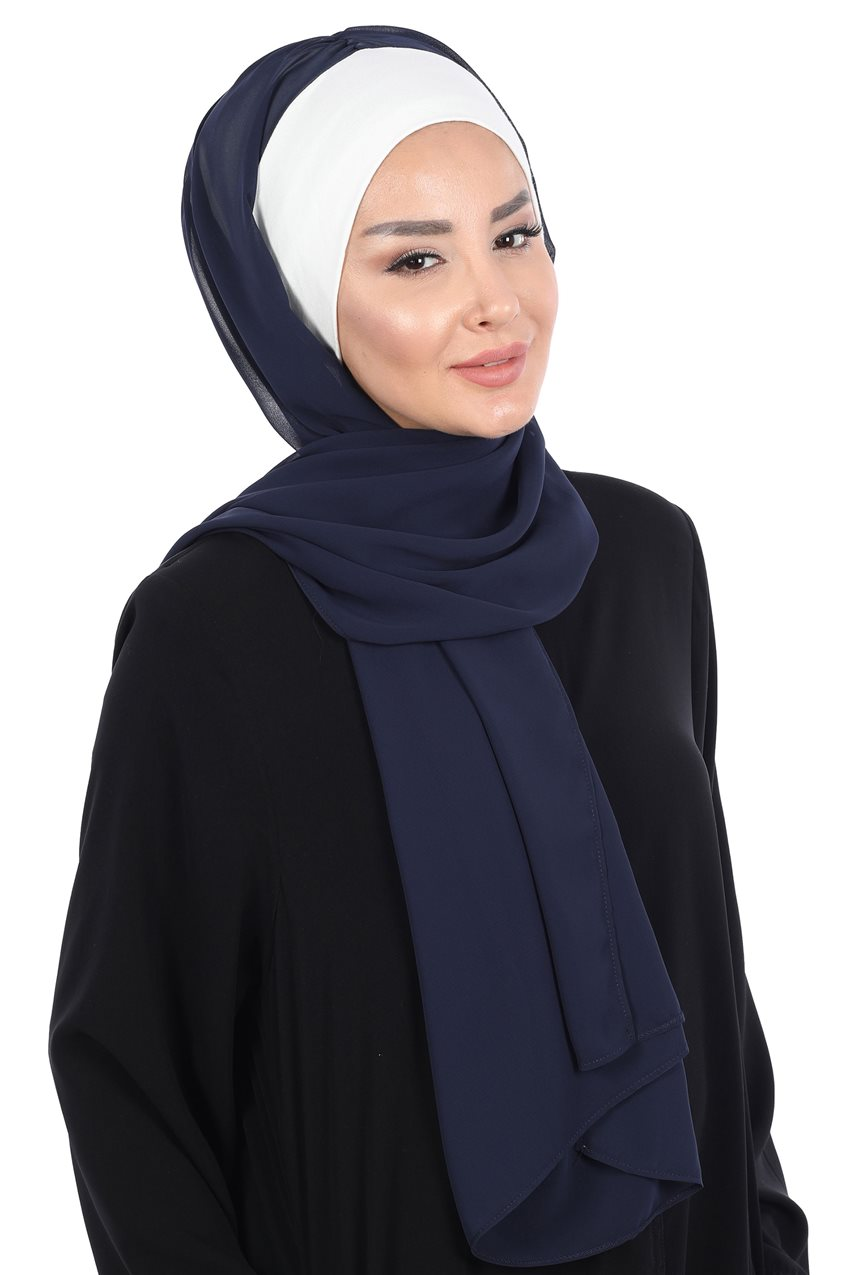 Ayşe Tasarim Shawl-Cream-Navy Blue BS-0002-8-23 - 10