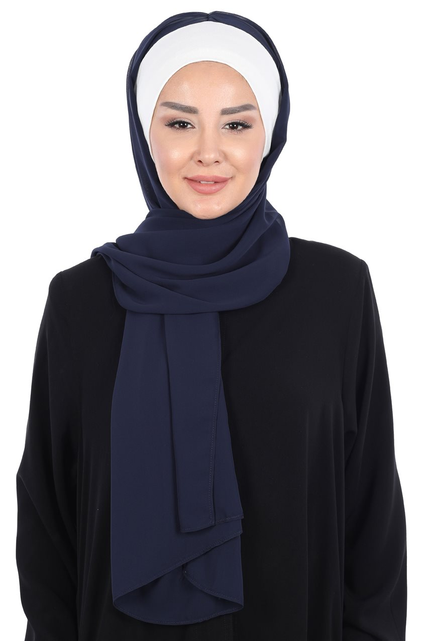 Ayşe Tasarim Shawl-Cream-Navy Blue BS-0002-8-23 - 9