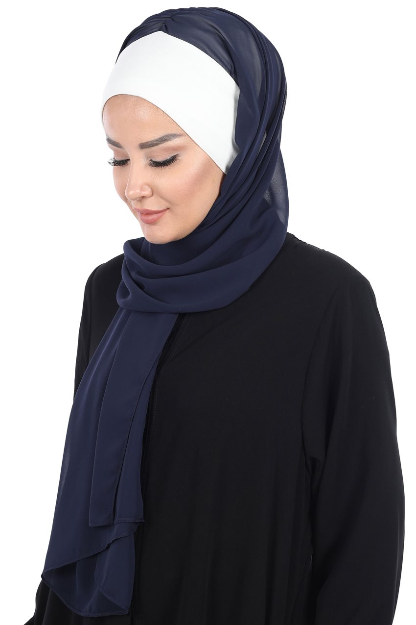 Ayşe Tasarim Shawl-Cream-Navy Blue BS-0002-8-23 - 7