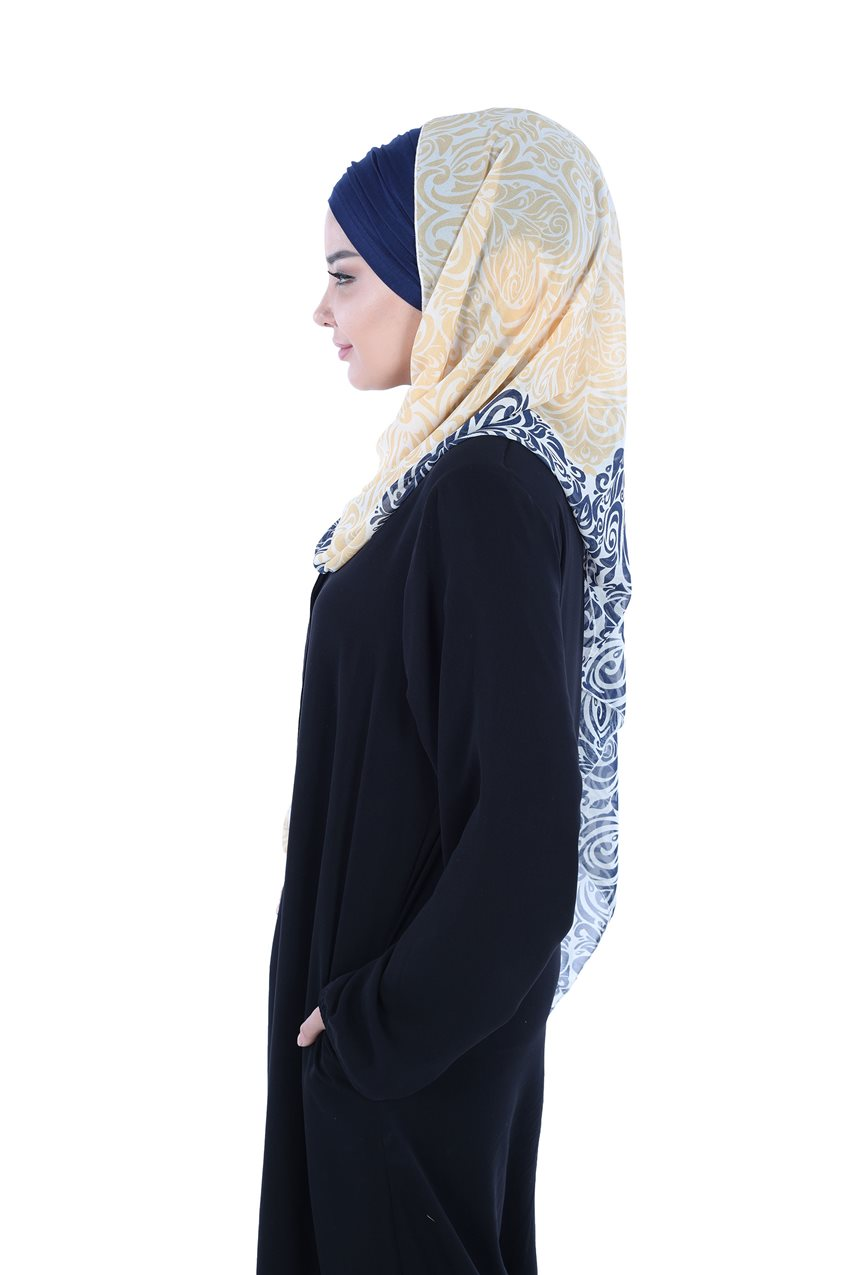 Ayşe Tasarim Shawl Navy Blue-Yellow BTS-0001-1-LS - 7