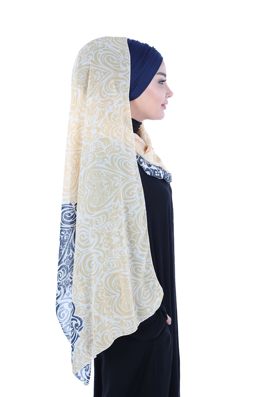 Ayşe Tasarim Shawl Navy Blue-Yellow BTS-0001-1-LS - 11