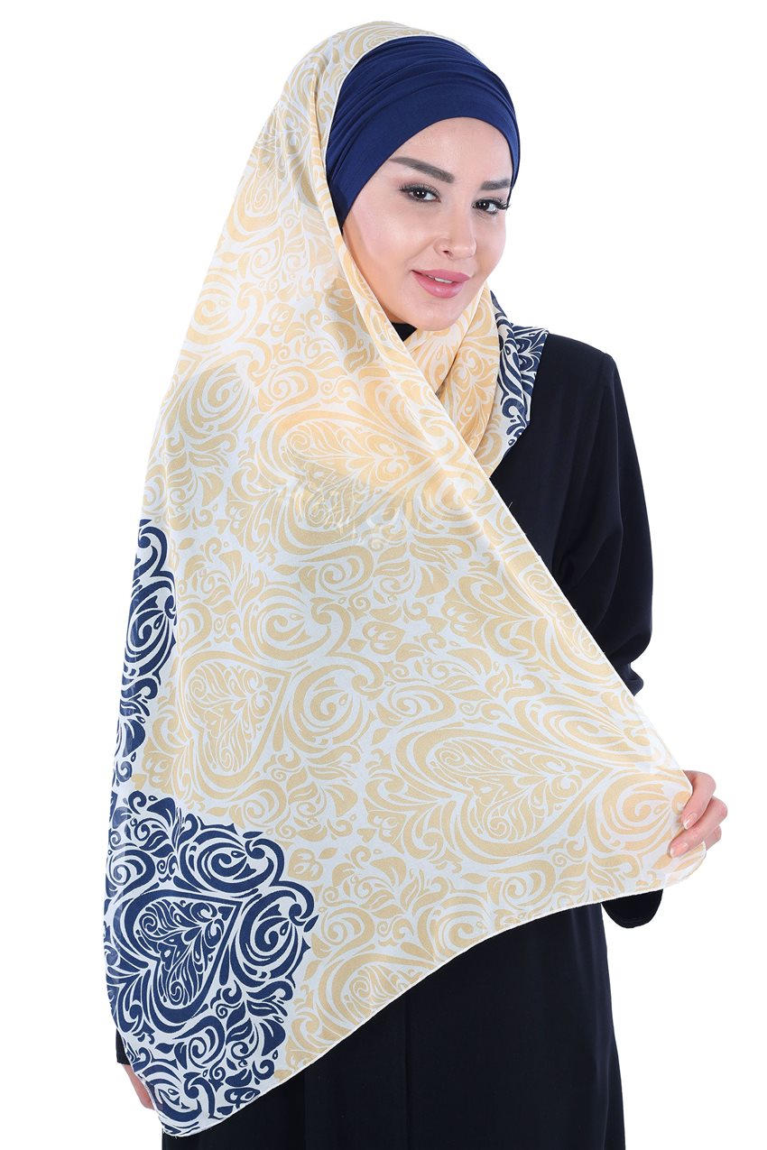 Ayşe Tasarim Shawl Navy Blue-Yellow BTS-0001-1-LS - 9