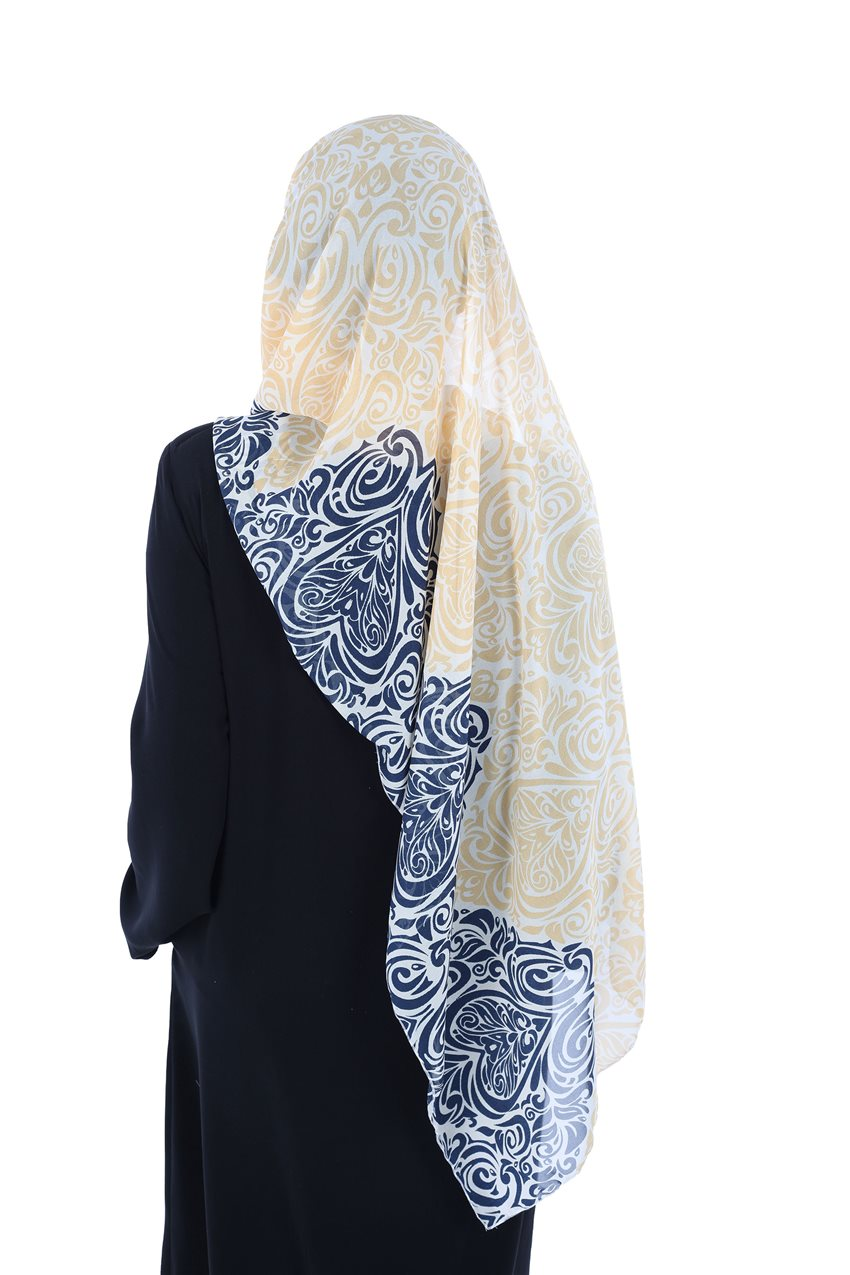 Ayşe Tasarim Shawl Navy Blue-Yellow BTS-0001-1-LS - 12