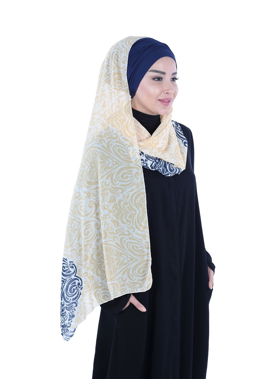 Ayşe Tasarim Shawl Navy Blue-Yellow BTS-0001-1-LS - 10