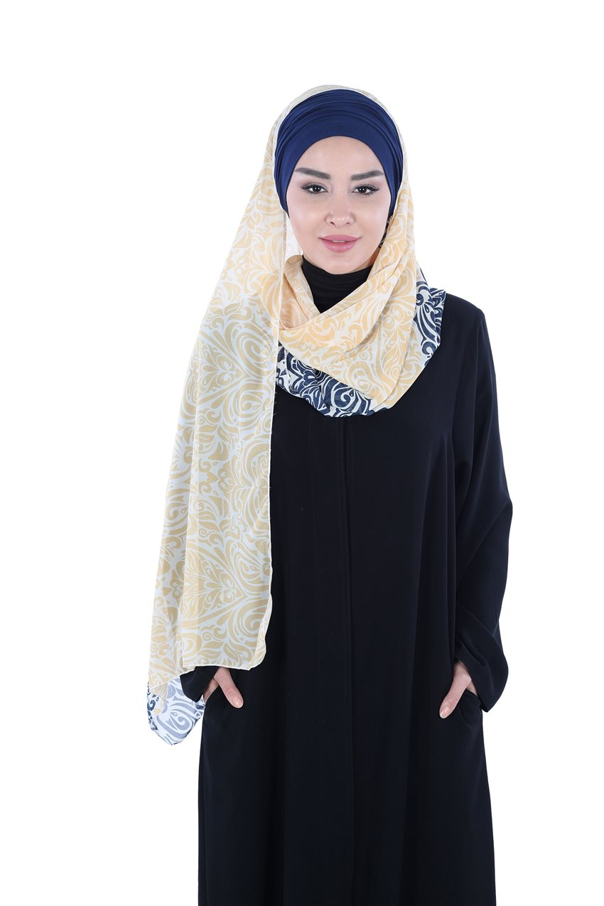 Ayşe Tasarim Shawl Navy Blue-Yellow BTS-0001-1-LS - 8