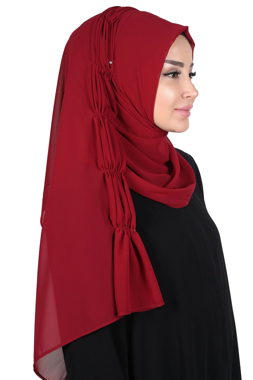 Ayşe Tasarim Shawl-Claret Red PS-101-7 - 12