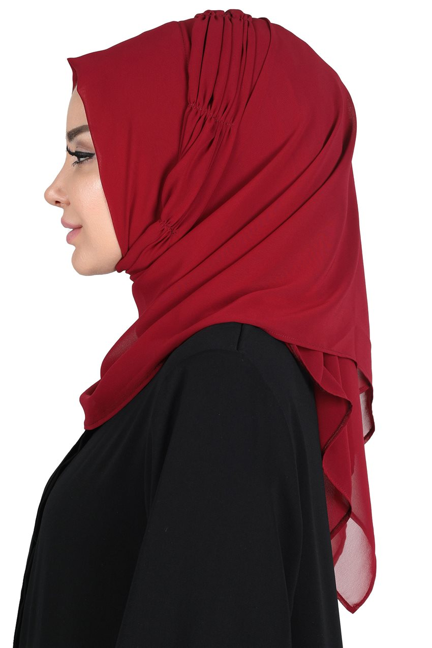 Ayşe Tasarim Shawl-Claret Red PS-101-7 - 8