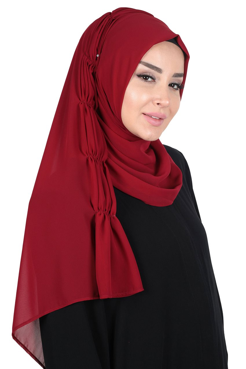 Ayşe Tasarim Shawl-Claret Red PS-101-7 - 10