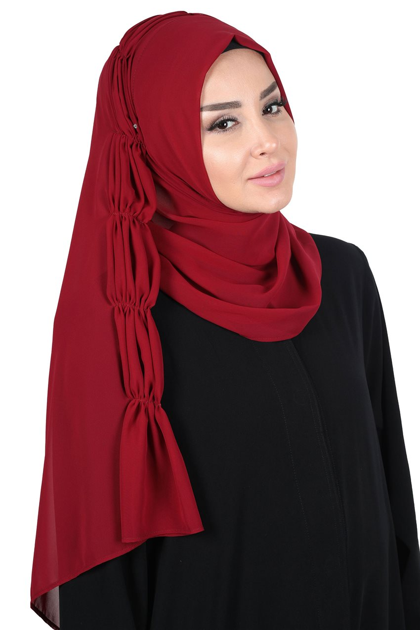 Ayşe Tasarim Shawl-Claret Red PS-101-7 - 11