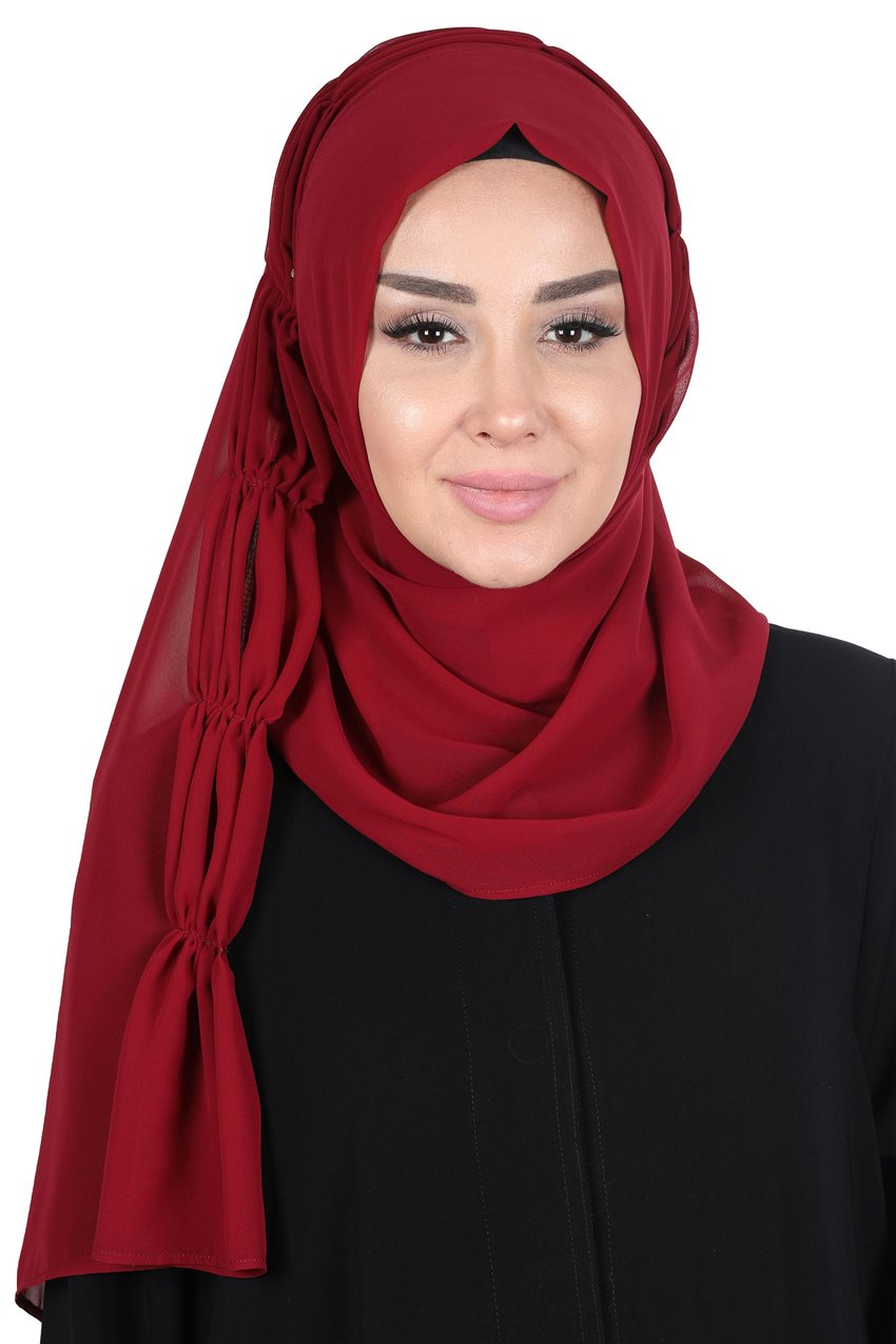 Ayşe Tasarim Shawl-Claret Red PS-101-7 - 7