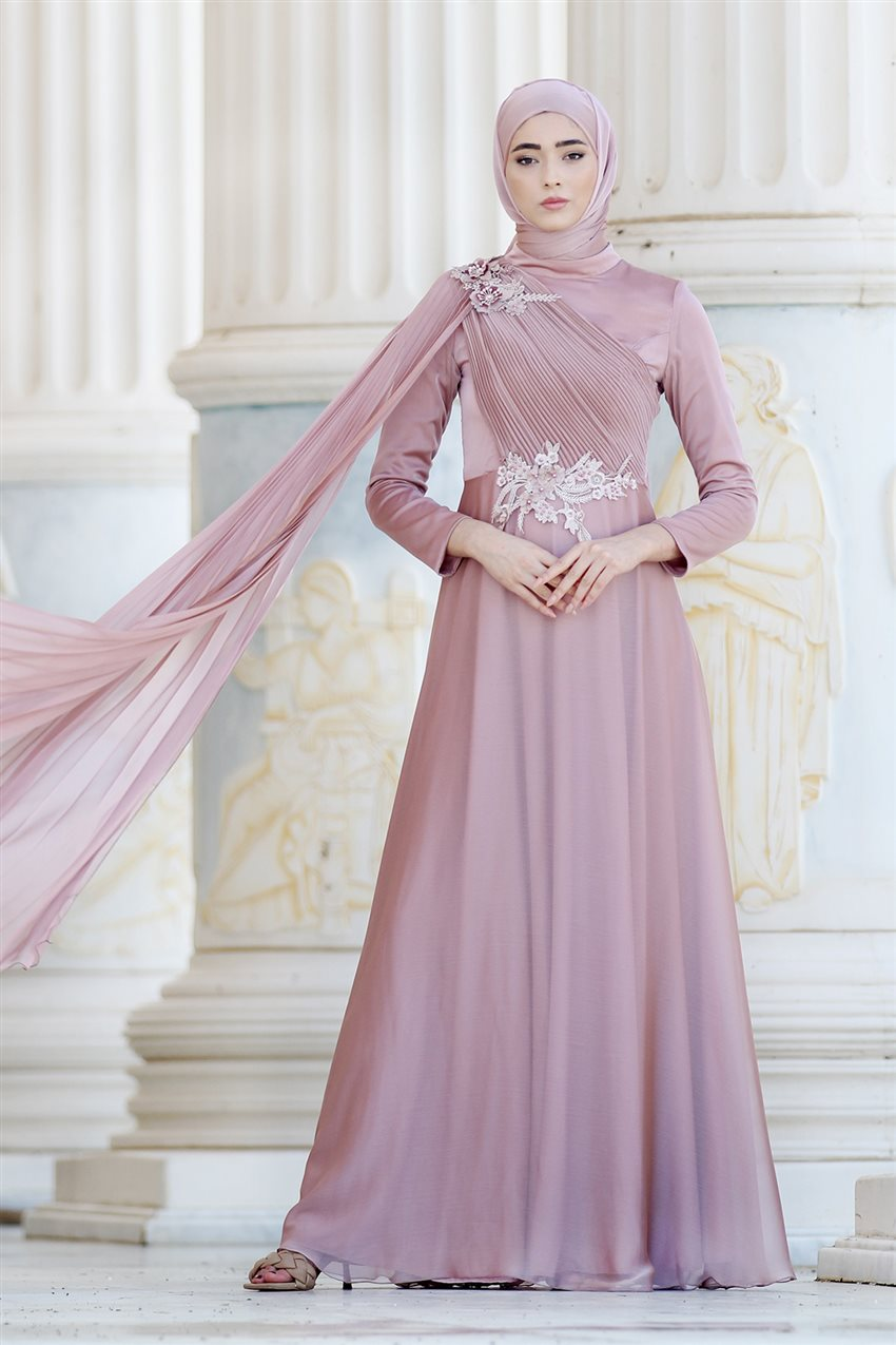 Nurbanu Kural Evening Dress-Alya-20104-Dried Rose-53 - 8