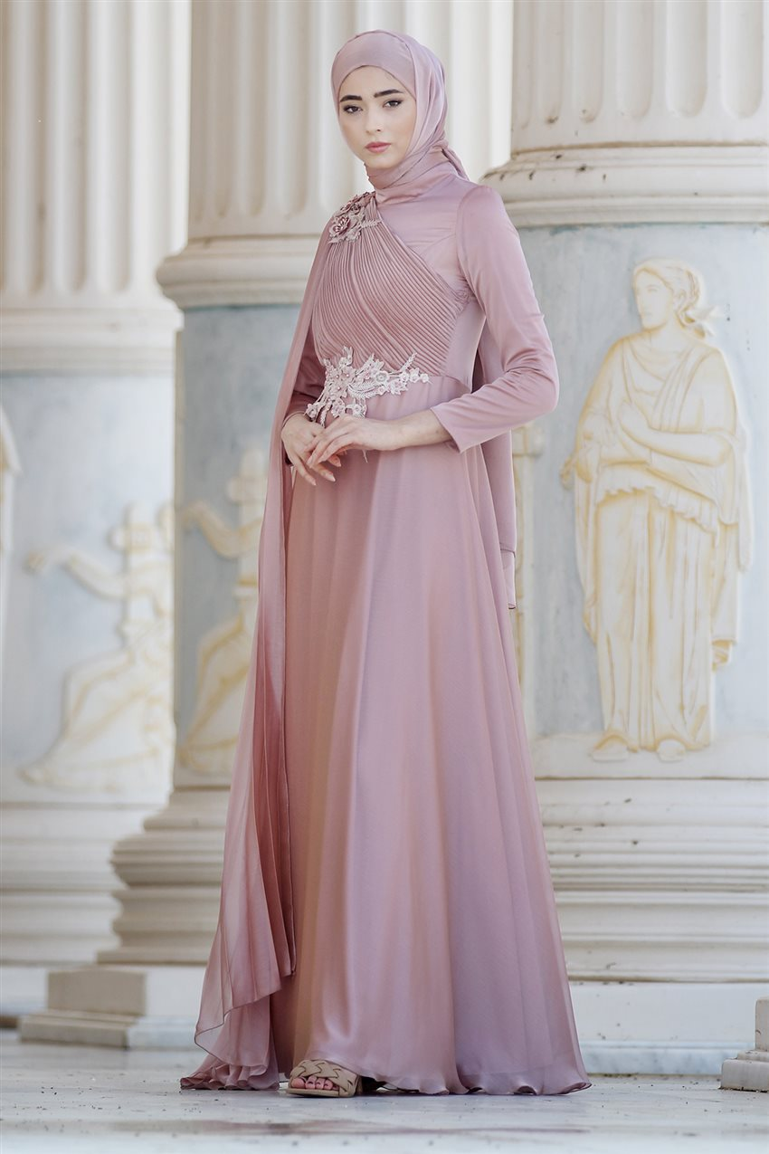 Nurbanu Kural Evening Dress-Alya-20104-Dried Rose-53 - 7