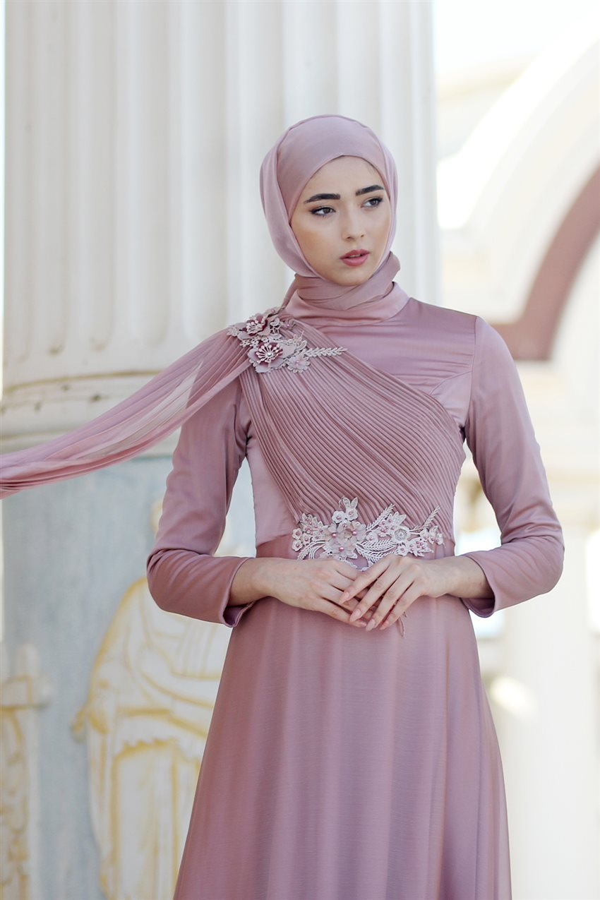 Nurbanu Kural Evening Dress-Alya-20104-Dried Rose-53 - 9