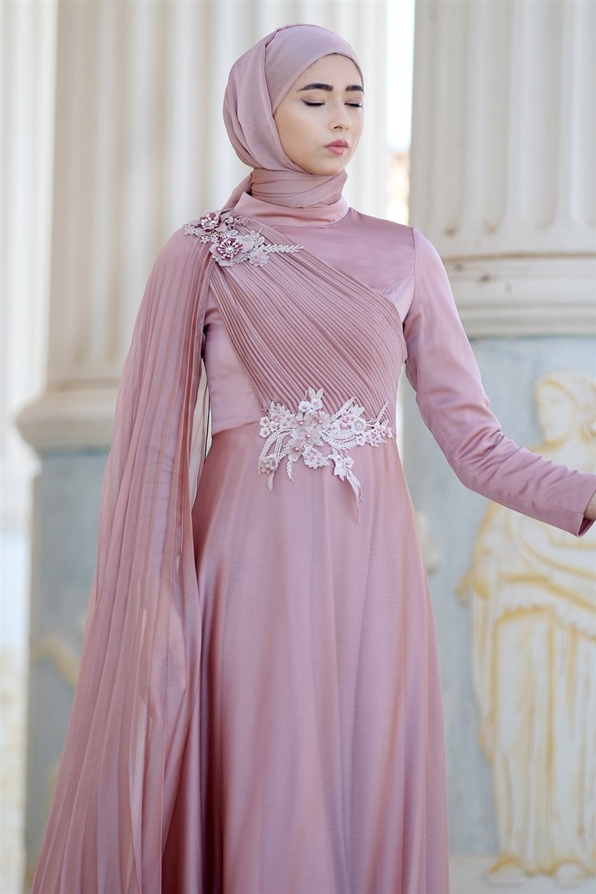 Nurbanu Kural Evening Dress-Alya-20104-Dried Rose-53 - 12