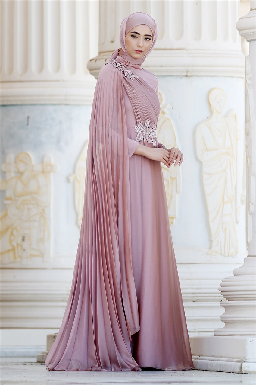 Nurbanu Kural Evening Dress-Alya-20104-Dried Rose-53 - 10