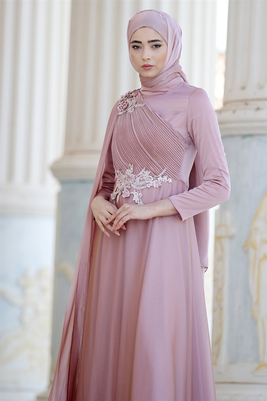 Nurbanu Kural Evening Dress-Alya-20104-Dried Rose-53 - 11