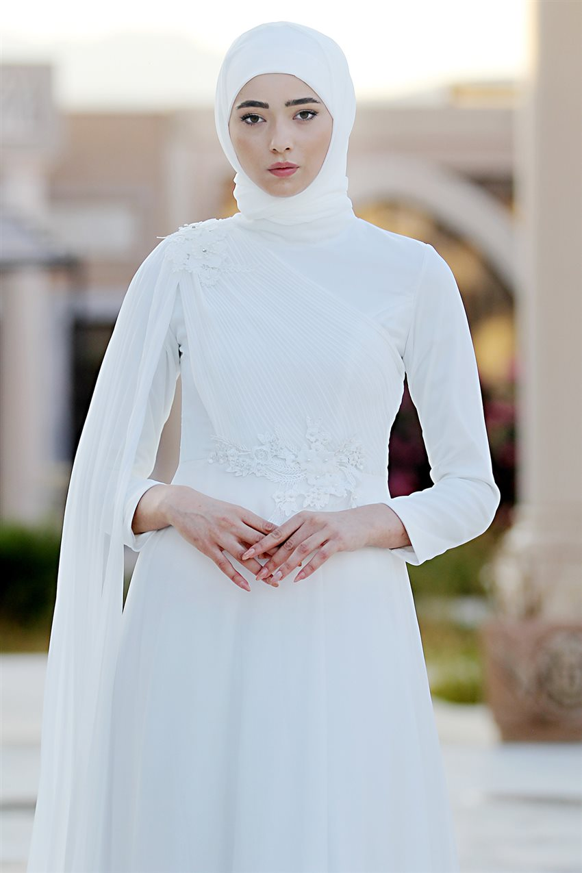 Nurbanu Kural Evening Dress-Alya-20104-Ecru-52 - 10
